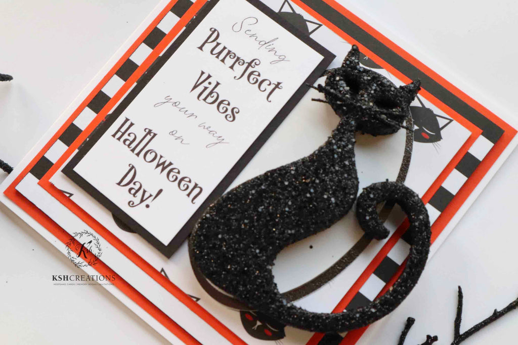 "Handcrafted ""Black-Cat"" Halloween Card"