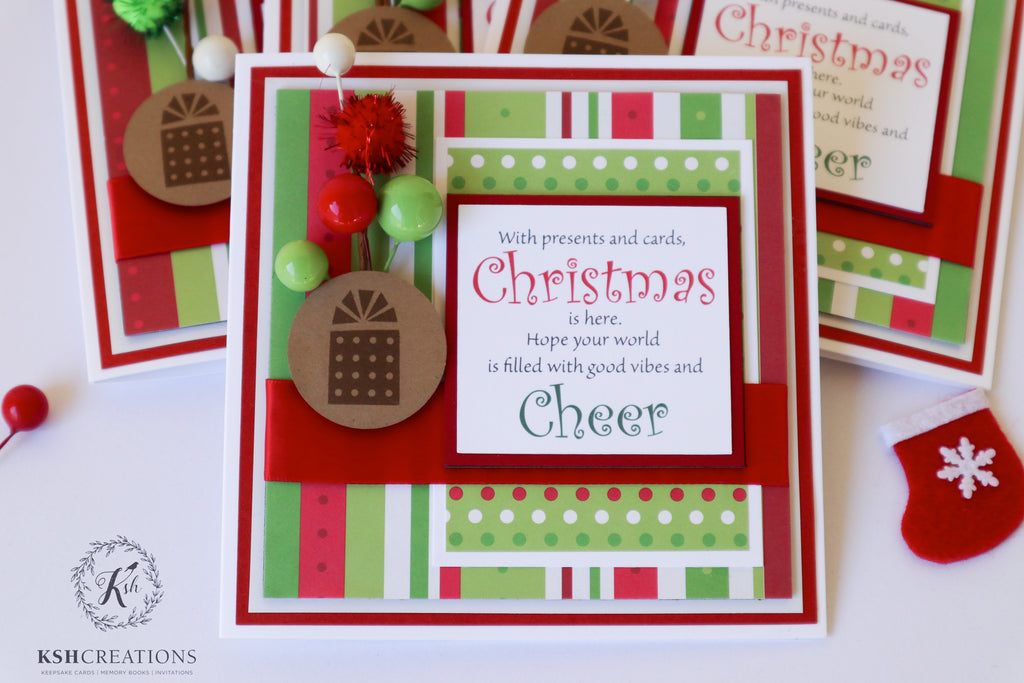 "Handcrafted ""Christmas Cheer"" Card_Set"