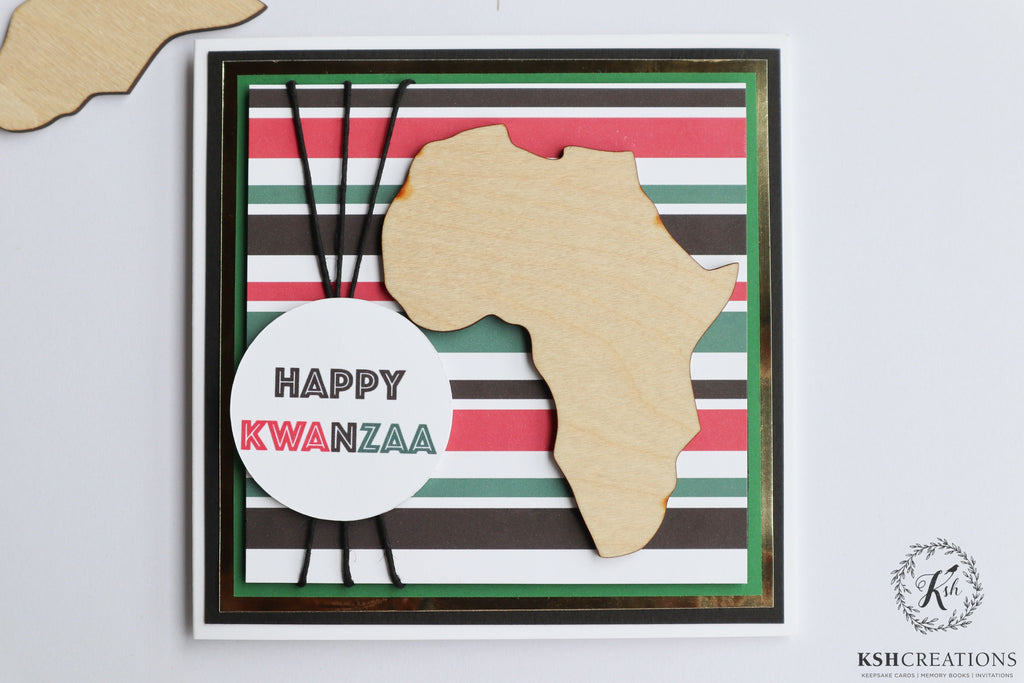 "Handcrafted ""Red, Green, Black"" Kwanzaa Card"