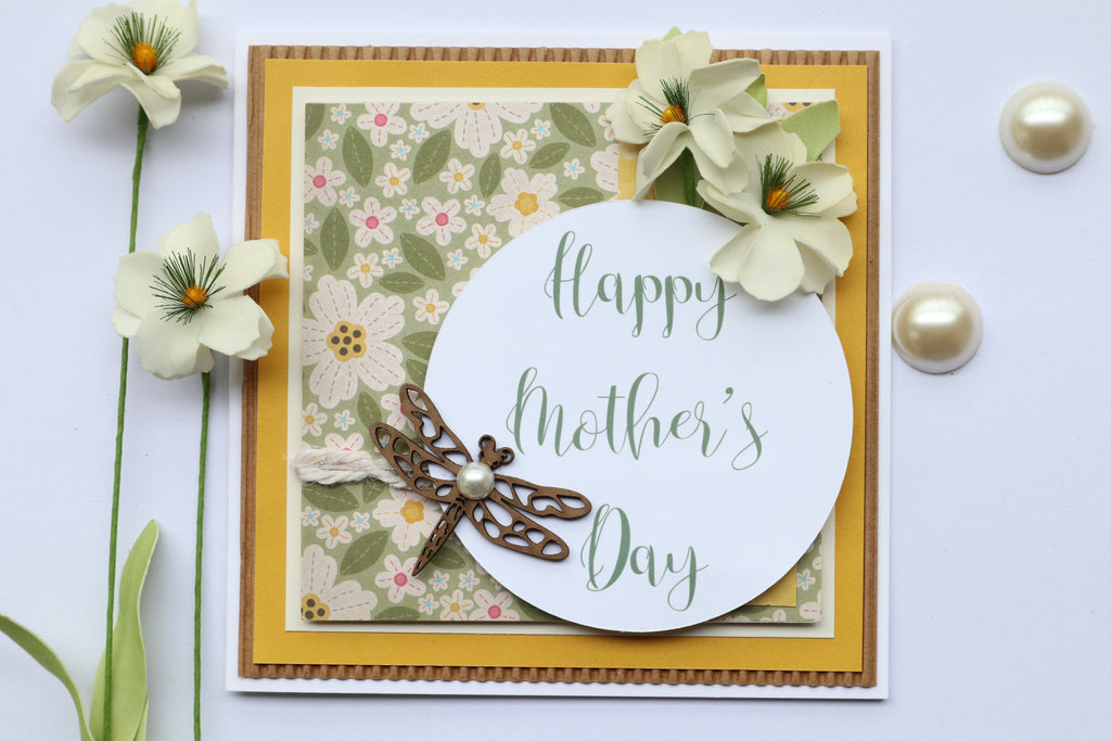 Mother's Day Card- Dragon Fly_White Blossoms