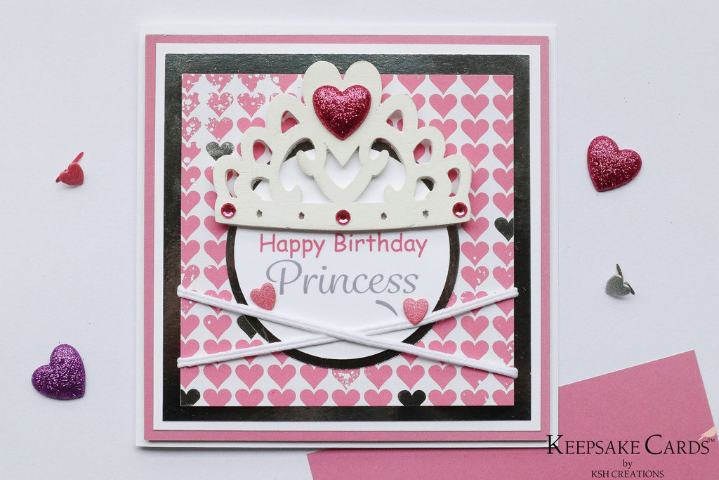 "Handcrafted ""Happy Birthday Princess"" Birthday Card"