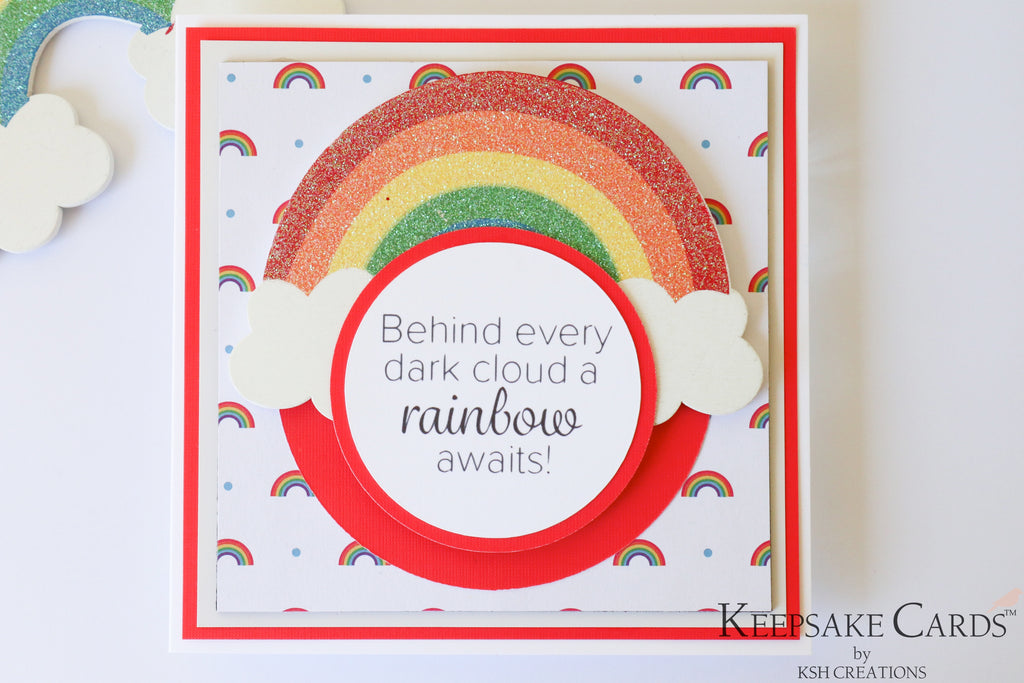 Handcrafted Rainbow  Keepsake Card