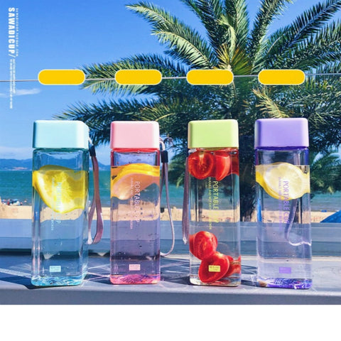Cute New Square Tea Milk Fruit Water Cup 500ml for Water Bottles drink