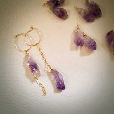 Amethyst Rough Rock Asymmetry Hoop