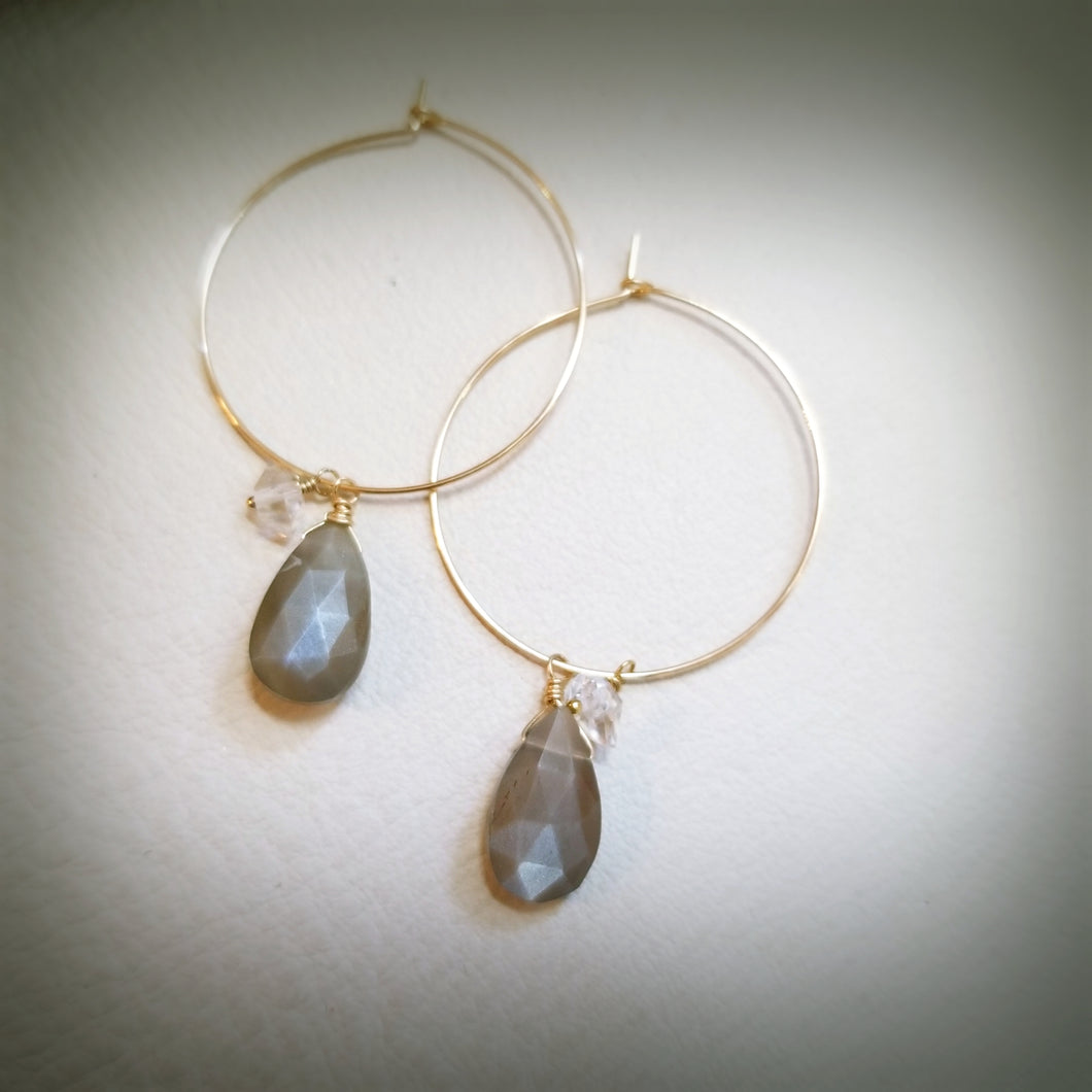 Brown Moonstone Hoop