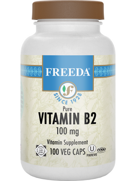 Vitamin B2 (Riboflavin) 100 mg - 100 Veg Caps - Freeda Health