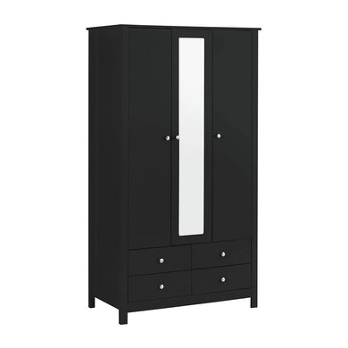 Florence 3 Door 4 Drawer wardrobe with mirror in Black
