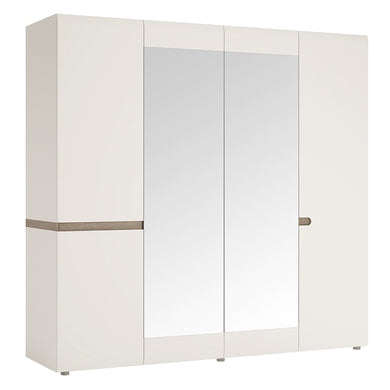 Chelsea 4 Door Wardrobe  with mirrors and Internal shelving