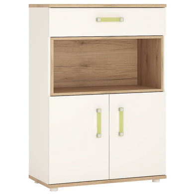 4Kids 2 Door 1 Drawer Cupboard with open shelf Lemon