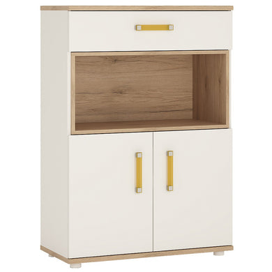 4Kids 2 Door 1 Drawer Cupboard with open shelf Orange