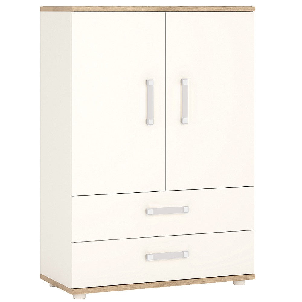 4Kids 2 Door 2 Drawer Cabinet Opalino Handles