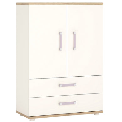 4Kids 2 Door 2 Drawer Cabinet Lilac Handles