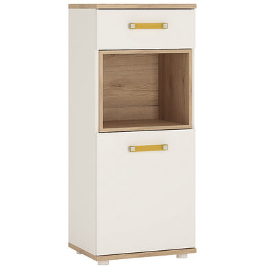 4kids 1 Door 1 Drawer Narrow Cabinet (Orange Handles)