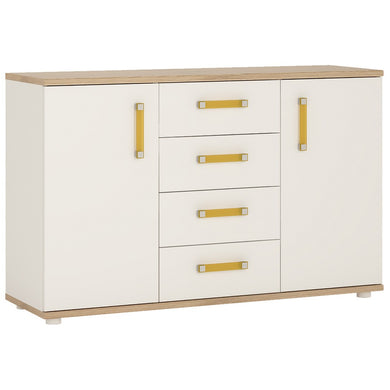 4Kids 2 Door 4 Drawer Sideboard Orange Handles