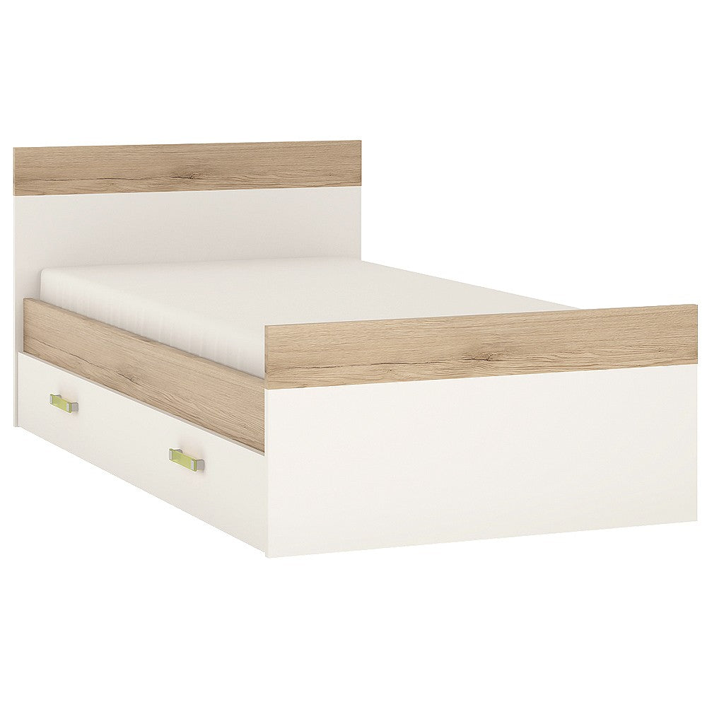 4Kids Single Bed with under Drawer Lemon Handles