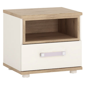 4kids 1 Drawer Bedside Table (Lilac Handles)