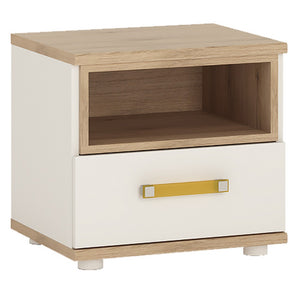 4kids 1 Drawer Bedside Table (Orange Handles)