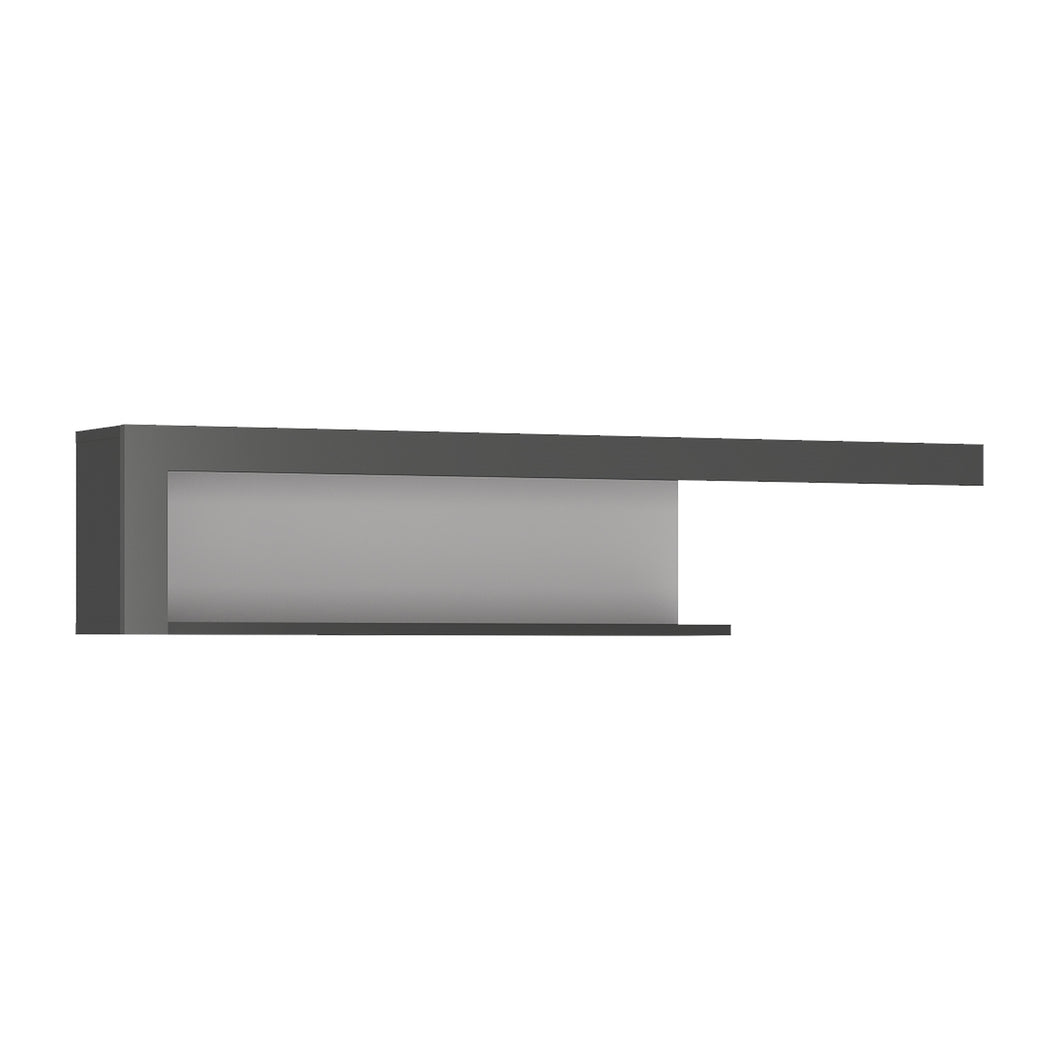 Lyon 130cm wall shelf in Platinum/Light Grey.