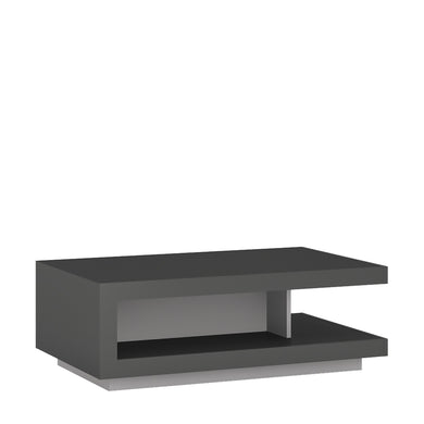 Lyon Designer coffee table in Platinum/Light Grey Gloss.