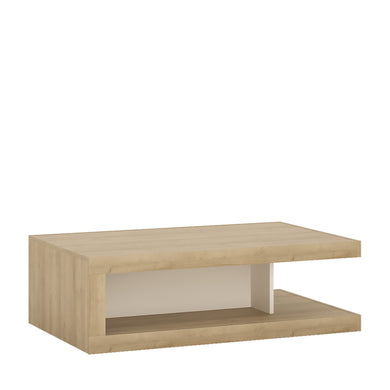 Lyon Designer coffee table on wheels in Riviera Oak/White High Gloss.