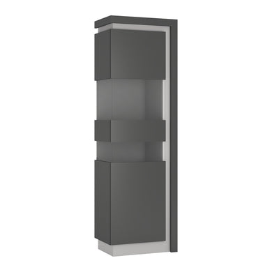 Lyon Tall narrow display cabinet (LHD) (including LED lighting) in Platinum/Light Grey Gloss.