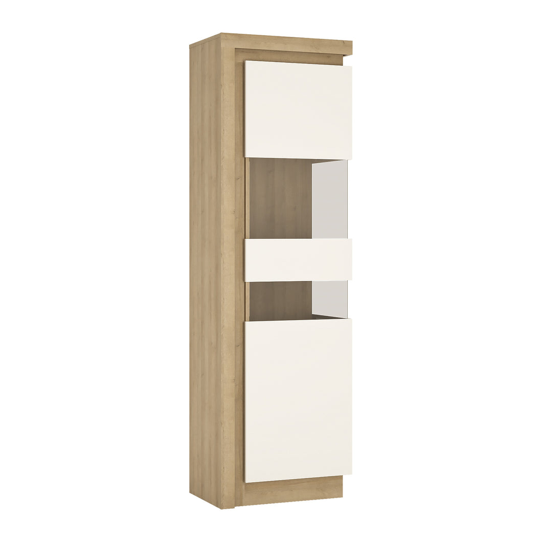 Lyon Tall narrow display cabinet (RHD) (including LED lighting) in Riviera Oak/White High Gloss.
