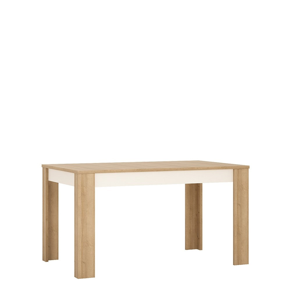 Lyon Medium extending dining table 140/180 cm in Riviera Oak/White High Gloss.