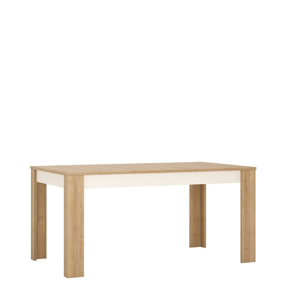 Lyon Large extending dining table 160/200 cm in Riviera Oak/White High Gloss.