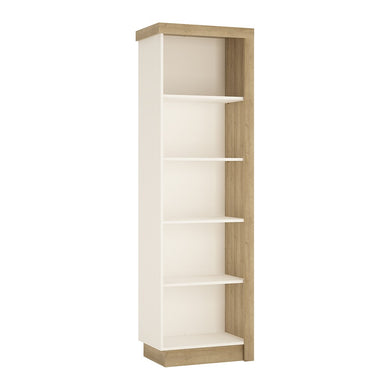 Lyon Bookcase (LH) in Riviera Oak/White High Gloss.