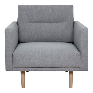 Larvik Armchair - Grey, Oak Legs