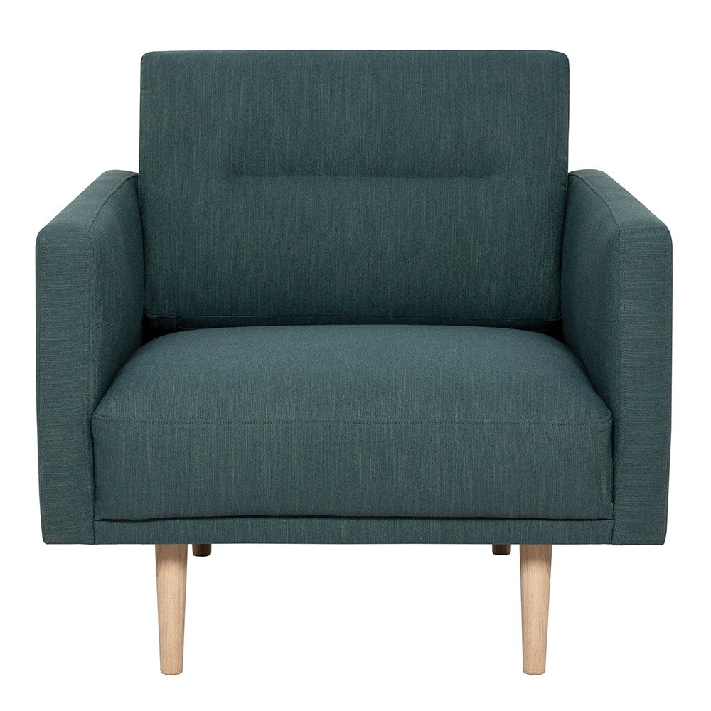 Larvik Armchair - Dark Green, Oak Legs