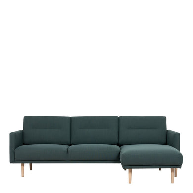 Larvik Chaiselongue Sofa (RH) - Dark Green, Oak Legs