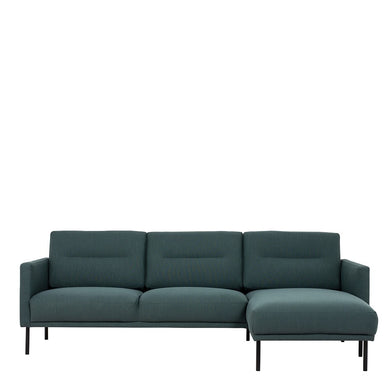Larvik Chaiselongue Sofa (RH) - Dark Green, Black Legs