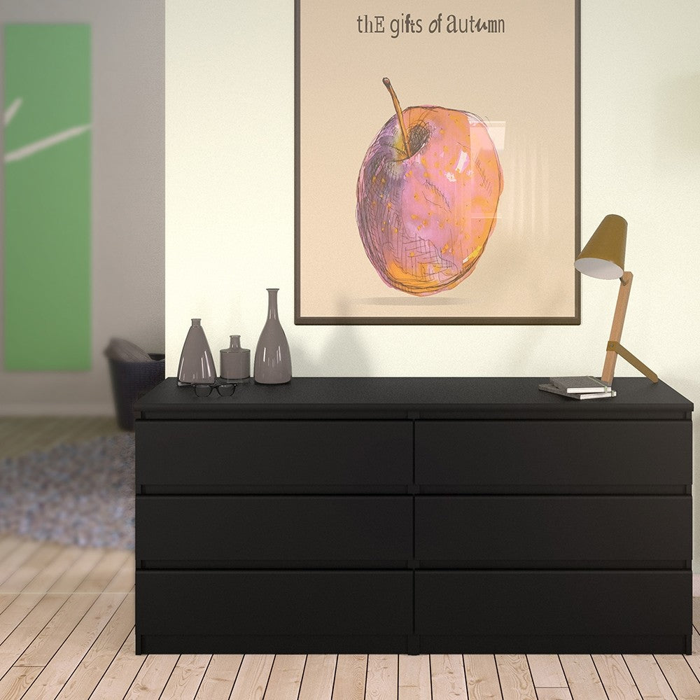 Naia Wide Chest of 6 Drawers (3+3) in Black Matt