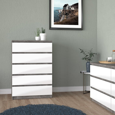 Naia Chest of 5 Drawers in Concrete and White Gloss