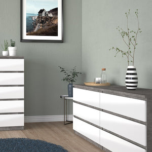 Naia Wide Chest of 6 Drawers (3+3) in Concrete and White High Gloss