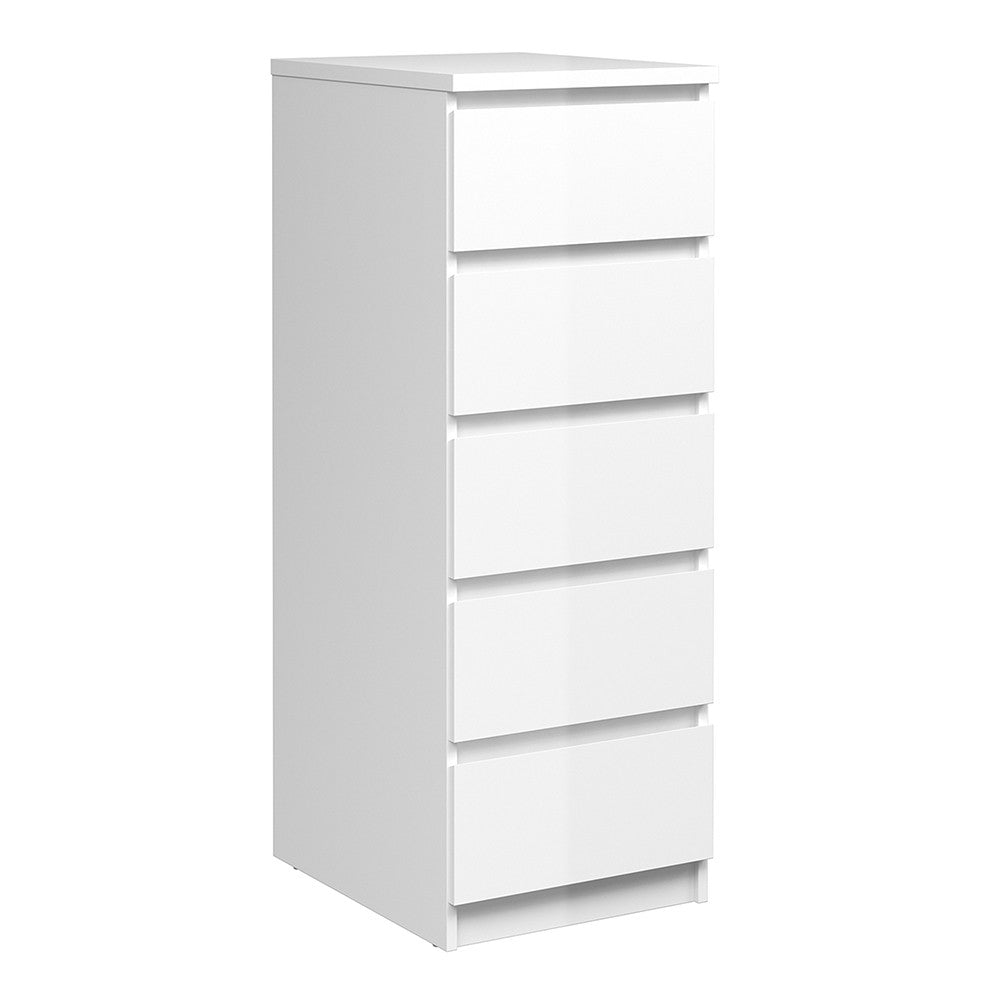 Naia Narrow Chest of 5 Drawers in White High Gloss