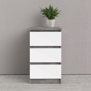 Naia Bedside - 3 Drawers in Concrete and White Gloss