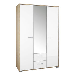 Homeline Wardrobe - 3 Doors 2 Drawers in Oak with White High Gloss