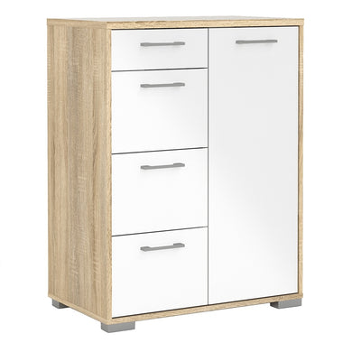 Homeline Sideboard - 4 Drawers 1 Door in Oak with White High Gloss