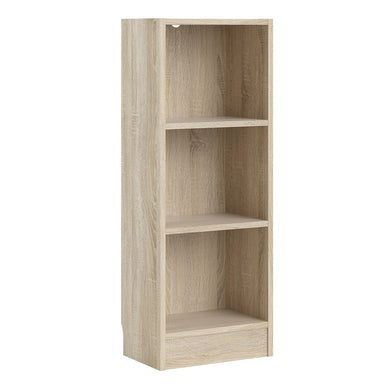 Basic Low Narrow Bookcase (2 Shelves) in Oak