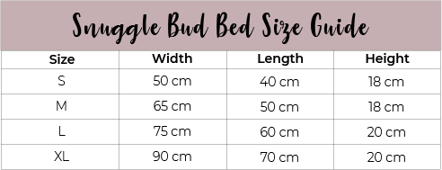 Snuggle Bud Dog Bed Size Guide