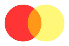 red and yellow equals orange
