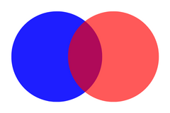 blue and red equals purple