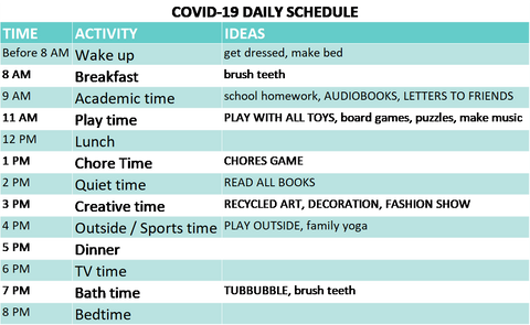 Daily Covid-19 schedule for kids staying at home