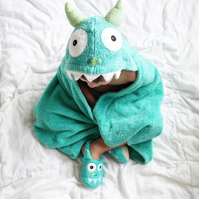 Monster Turquoise Hooded Towel - Yikes Twins