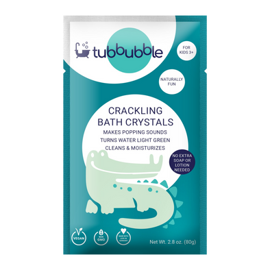 tubbubble crackling bath crystals for kids. Fun and moisturizing experience.