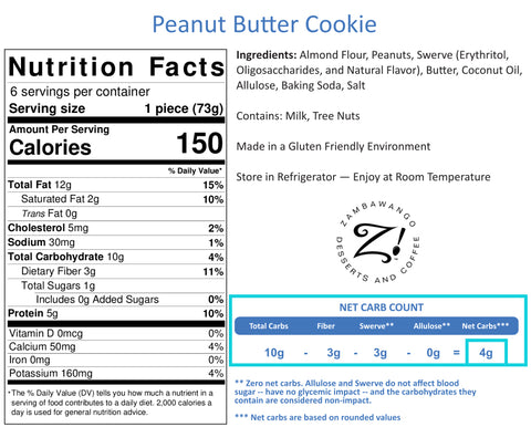 Zambawango Product Label Nutritional Facts - Peanut Butter Cookie