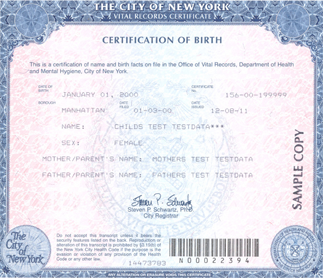 Geburtsurkunde (USA) Certificate of Birth
