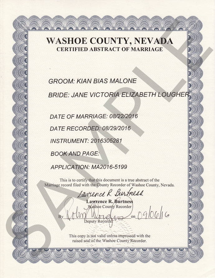 Auszug aus dem Eheregister (USA) Certified Abstract of a Certificate of Marriage